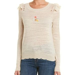 NWT Wildfox Ruffle Spring Bloom Zanetti Sweater S